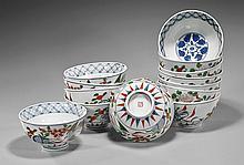 Thirteen Japanese Porcelain Noodle Soup Bowls