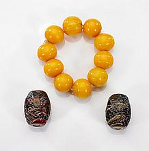 Three Chinese Jewelry Pieces: Bracelet & Beads