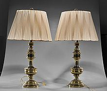 Pair Vintage Gilt Pedestal Lamps