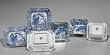 Six Japanese Blue & White Porcelain Dishes