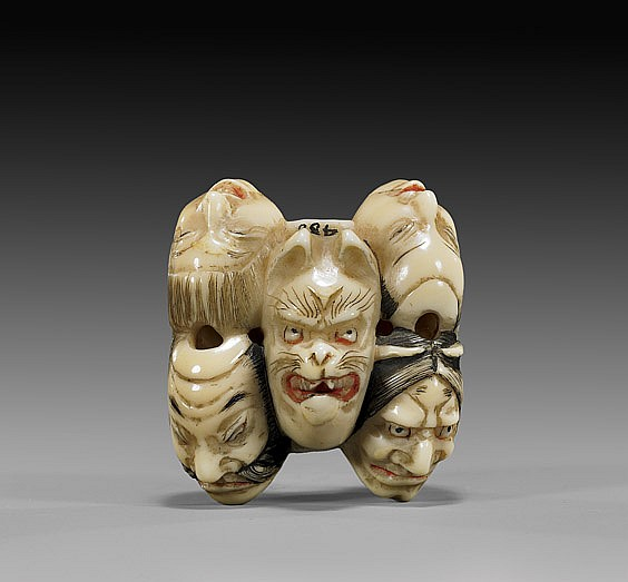 ANTIQUE IVORY NETSUKE: Seven Masks