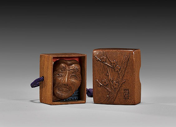 ANTIQUE WOOD SHUNGA NETSUKE: Box
