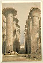 HAND COLORED LITHO BY LOUIS HAGHE: Karnak