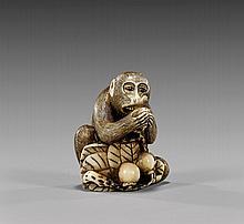 ANTIQUE IVORY NETSUKE: Monkey & Fruit