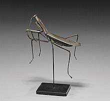ANTIQUE COPPER OKIMONO: Praying Mantis