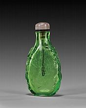CARVED GREEN GLASS SNUFF BOTTLE