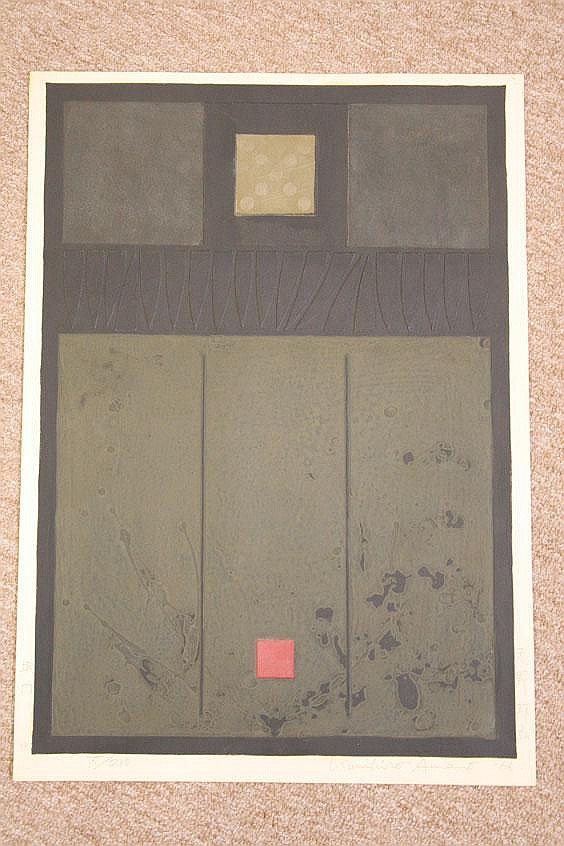 Two Woodblock Prints by Kunihiro Amano