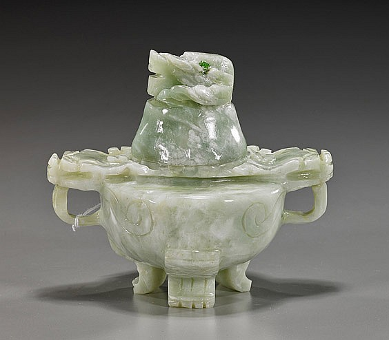 Chinese Carved Green Bowenite Censer