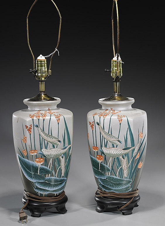 Pair Glazed Jars, Porcelain Vessel & Planter