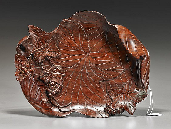 Old Japanese Carved Wood Tray