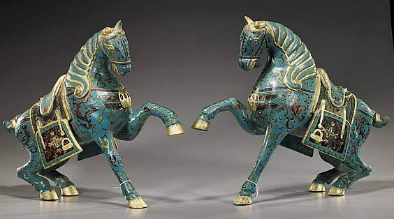 Pair Chinese Painted Wood Horses