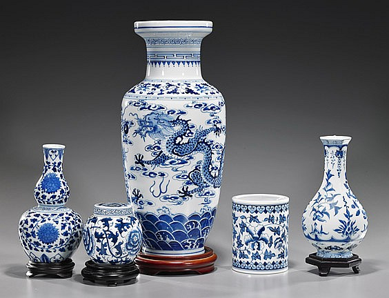 Group of 5 Chinese Blue & White Porcelains