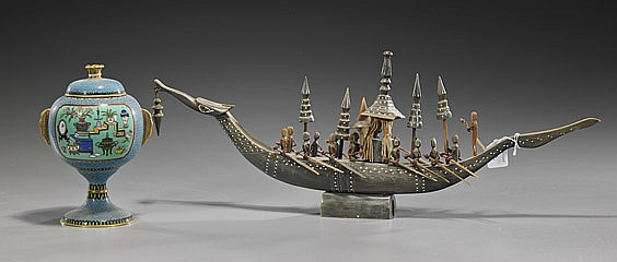 Carved Horn Boat & Cloisonné Covered Vessel