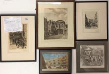 A group of five framed limited edition prints and engravings of Temple Bar, London including an etching by Charles John Watson (1846 -1927)