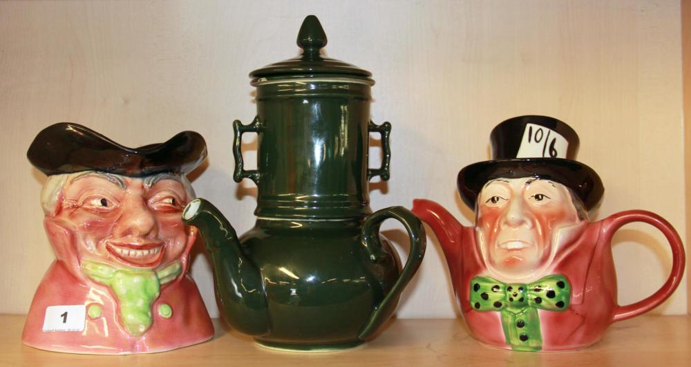 A large Shorter & Son character jug with a character teapot and an unusual stoneware teapot.