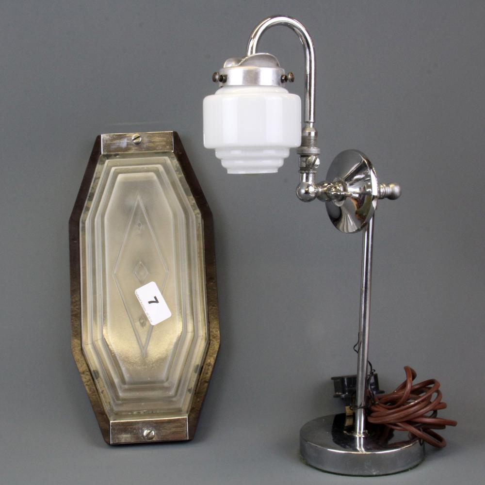 An Art Deco style glass wall light and a chrome desk lamp, light L. 30cm.