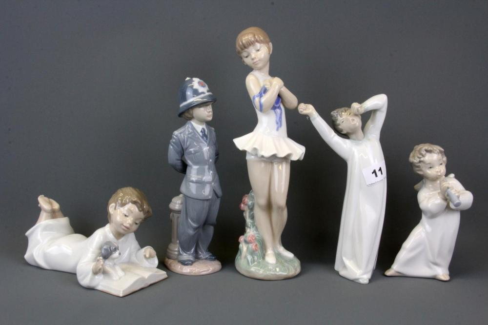 Three Lladro figures of a police boy, a boy yawning and an angel together with two Nao figurines, tallest H. 28cm. (Three boxes)