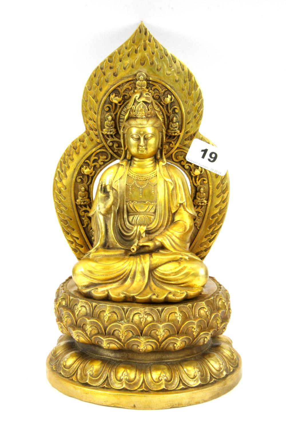 A Sino-Tibetan gilt bronze figure of the goddess Guanyin, H. 28cm.