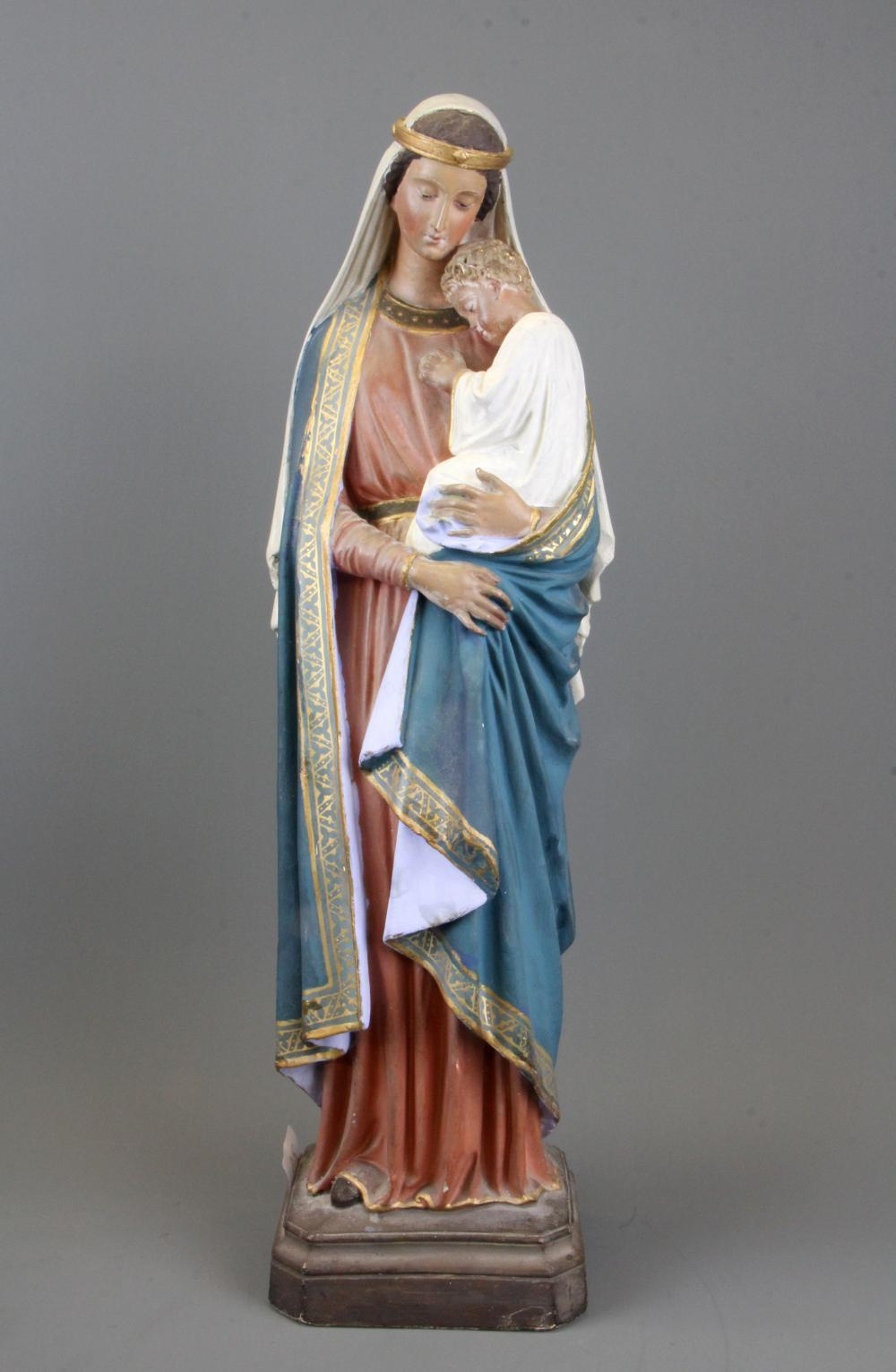 An early 20th Century plaster figure of the Madonna and Child, H. 52cm.