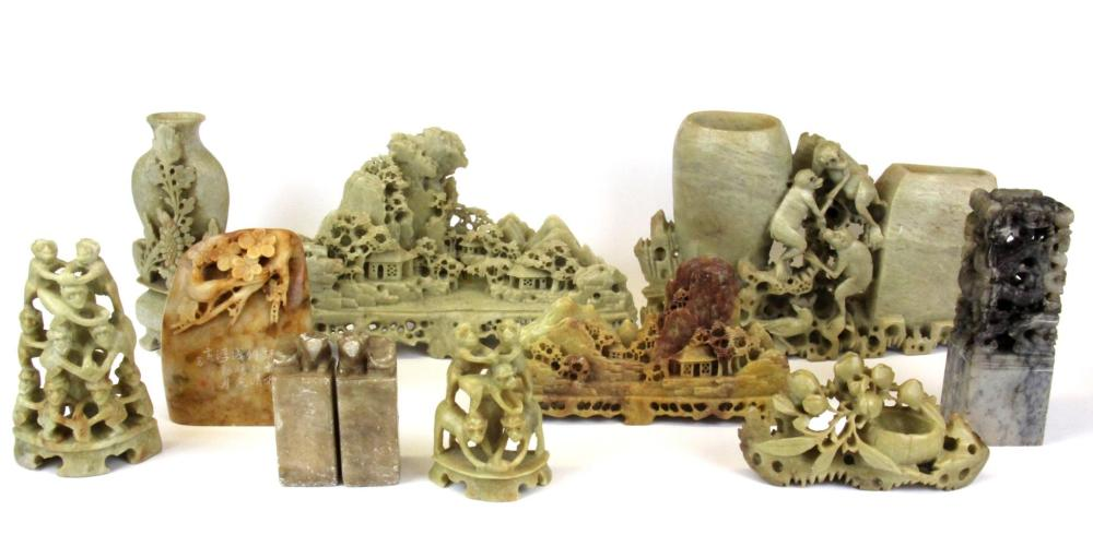 A group of ten mid 20th Century Chinese carved soapstone desk items including four seals, tallest H. 13cm.