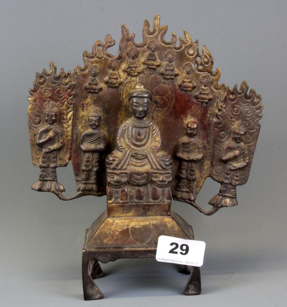 An unusual Tibetan gilt bronze Buddhist deity group, H. 23cm.