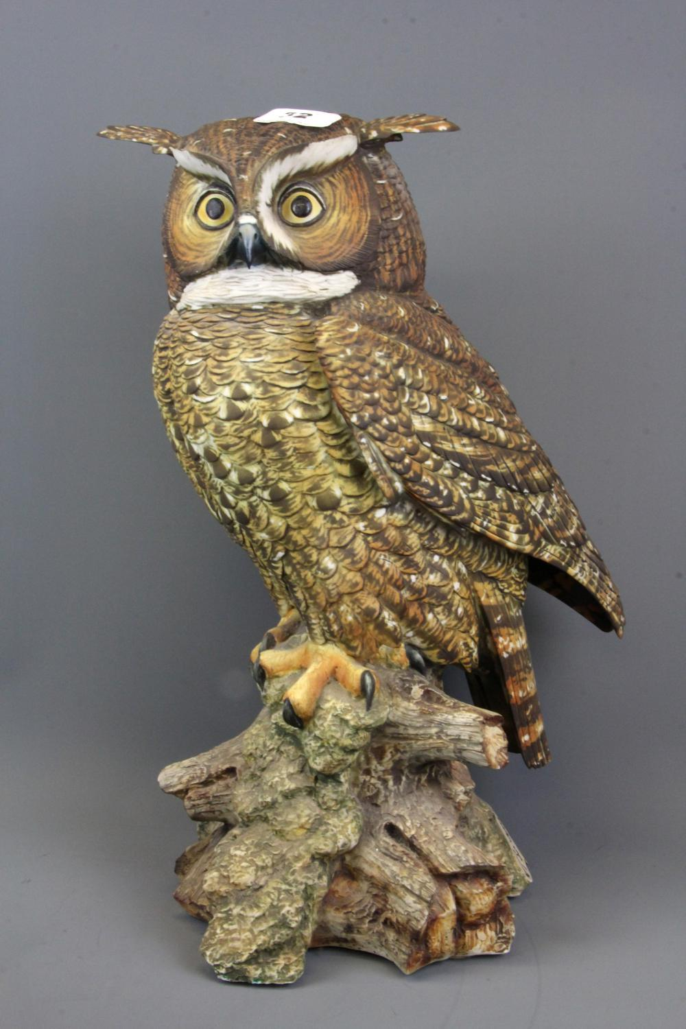 A large signed Italian ceramic model of an owl signed V Bindi, H. 40cm.