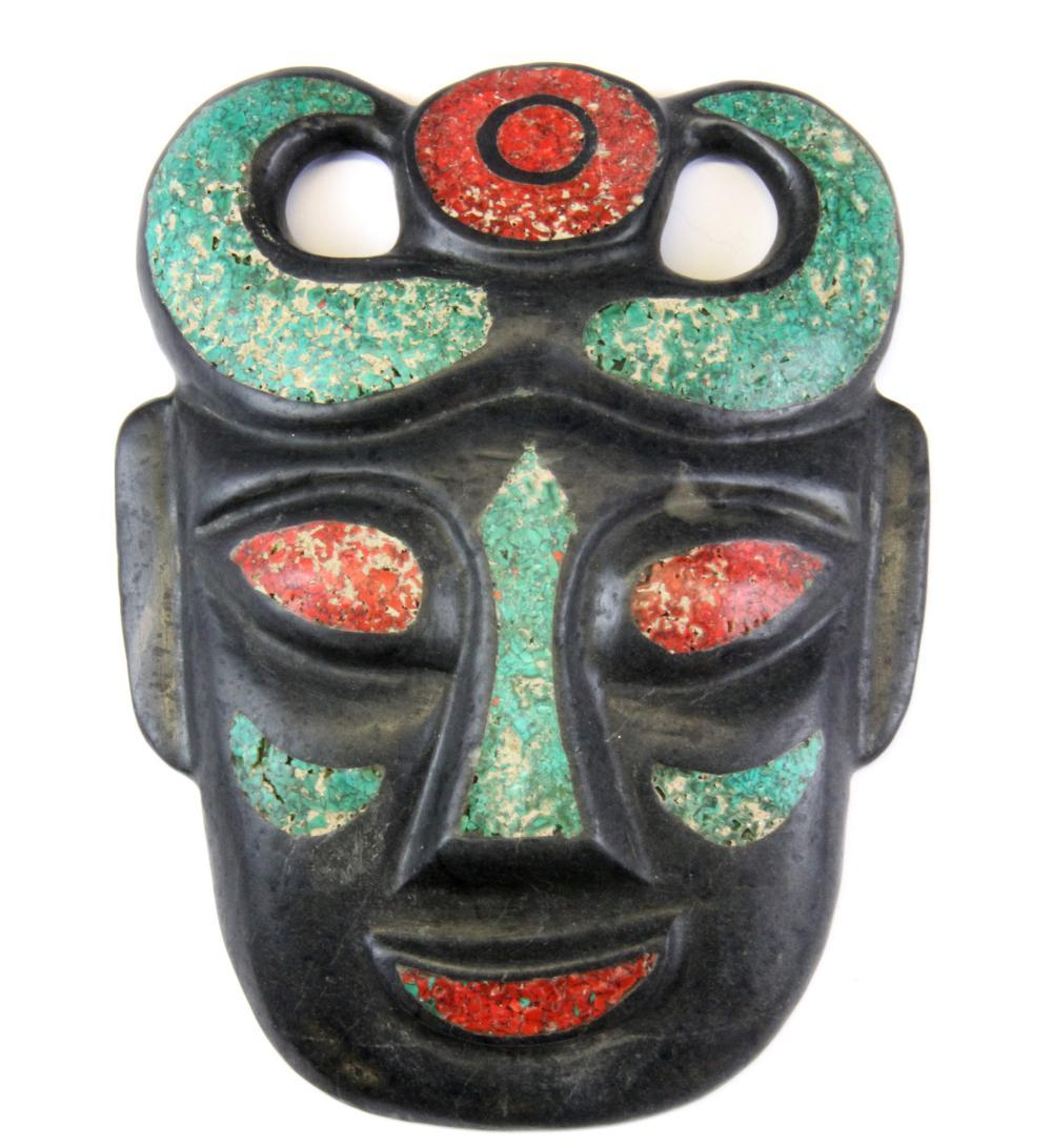 An unusual Chinese mosaic decorated stone mask, H. 19cm.