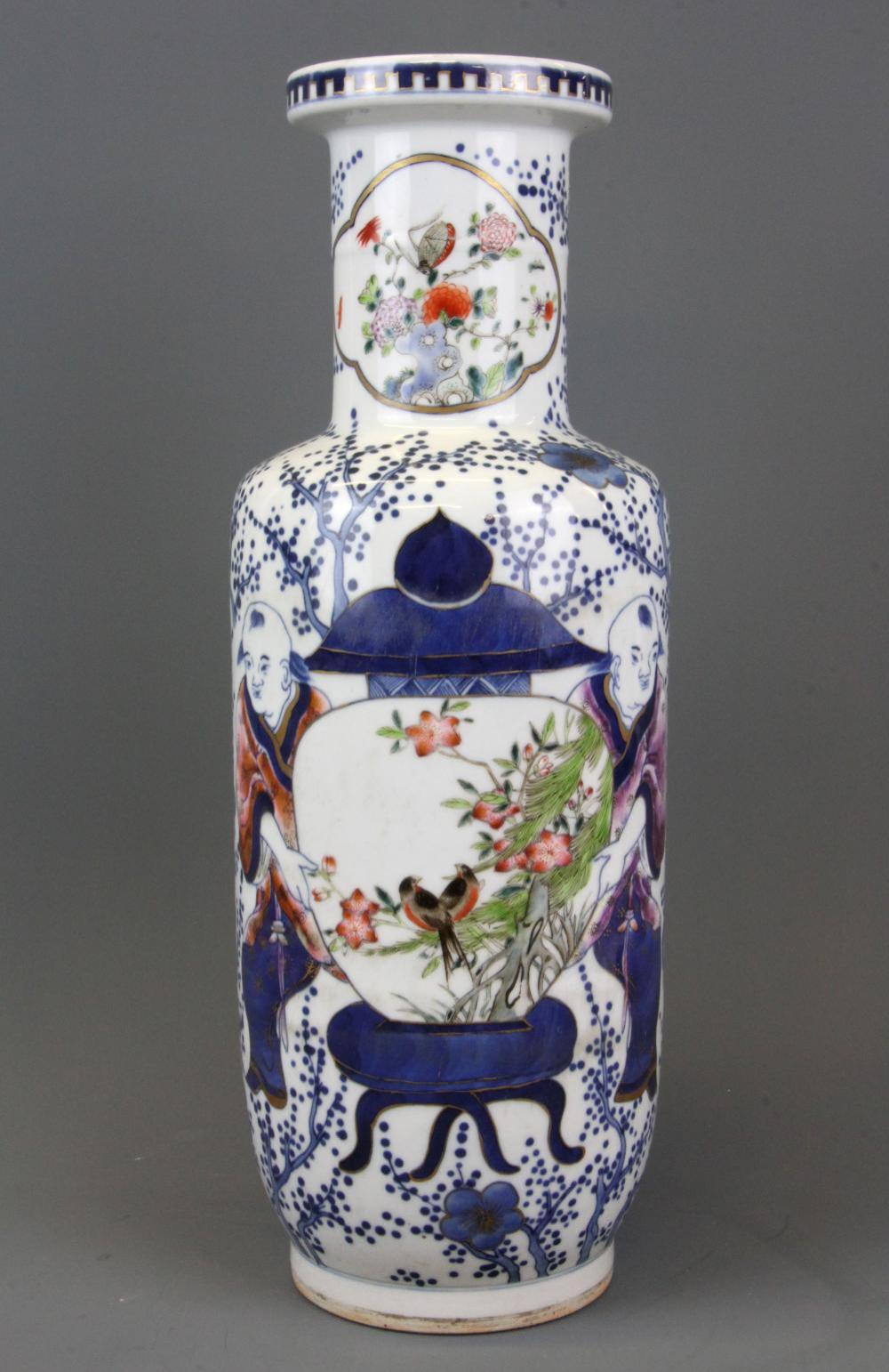 A Chinese hand painted porcelain vase depicting men carrying a vase, H. 38cm with six character mark to base.