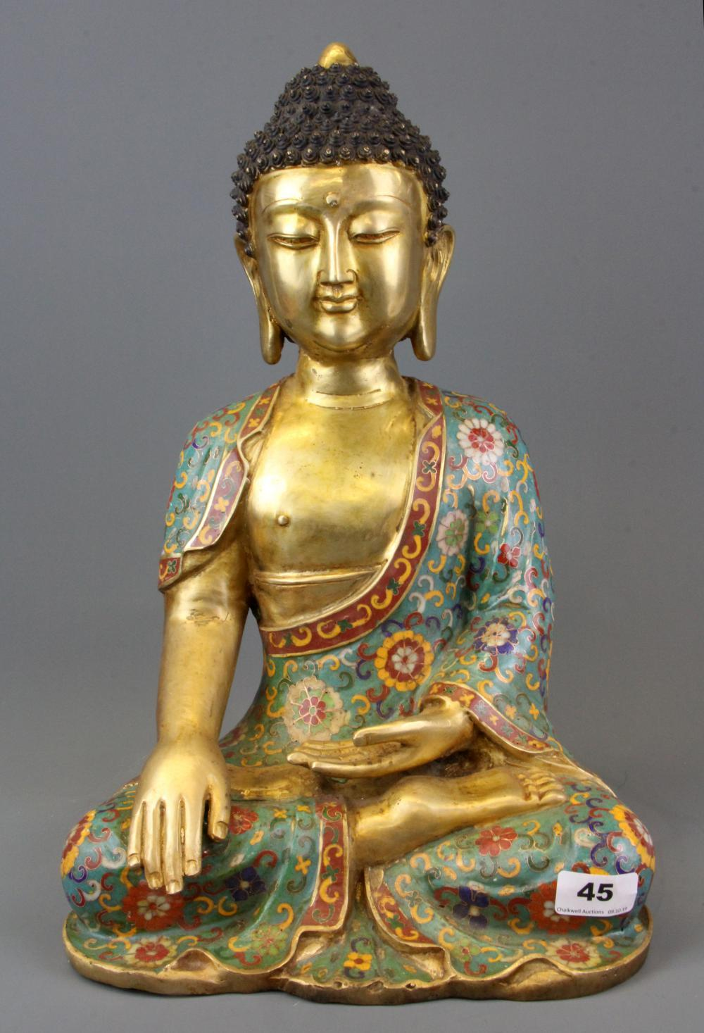 A Chinese cloisonne decorated gilt bronze figure of the seated Buddha, H. 45cm.
