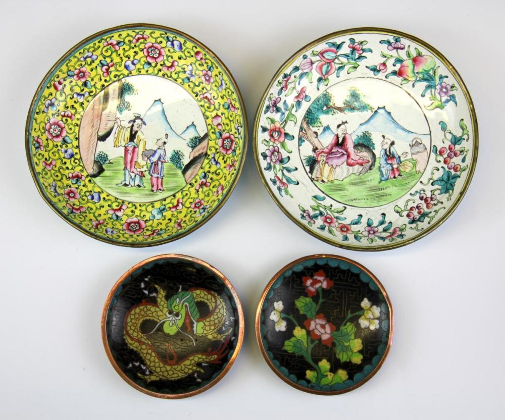 Two Canton hand enamelled brass dishes, Dia. 15cm with two smaller cloisonne on copper dishes.