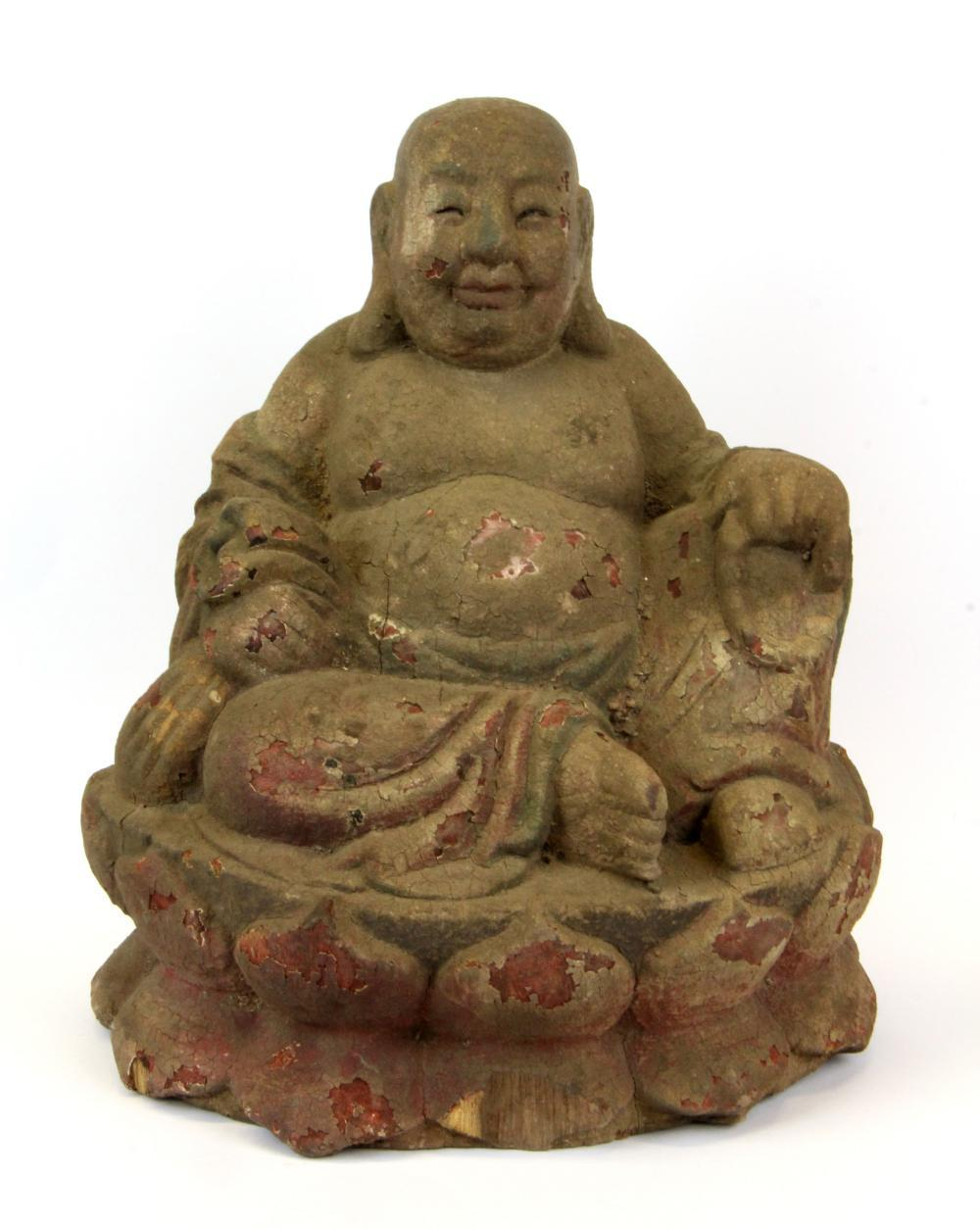 A gesso and paint finish carved wooden figure of the seated happy Buddha, H. 27cm.