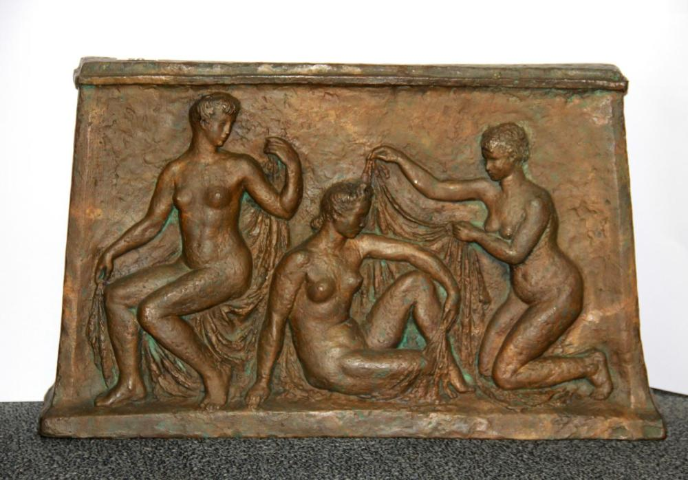 A superb early 20th Century relief bronze panel of three female figures bathing, W. 57cm H. 35cm.