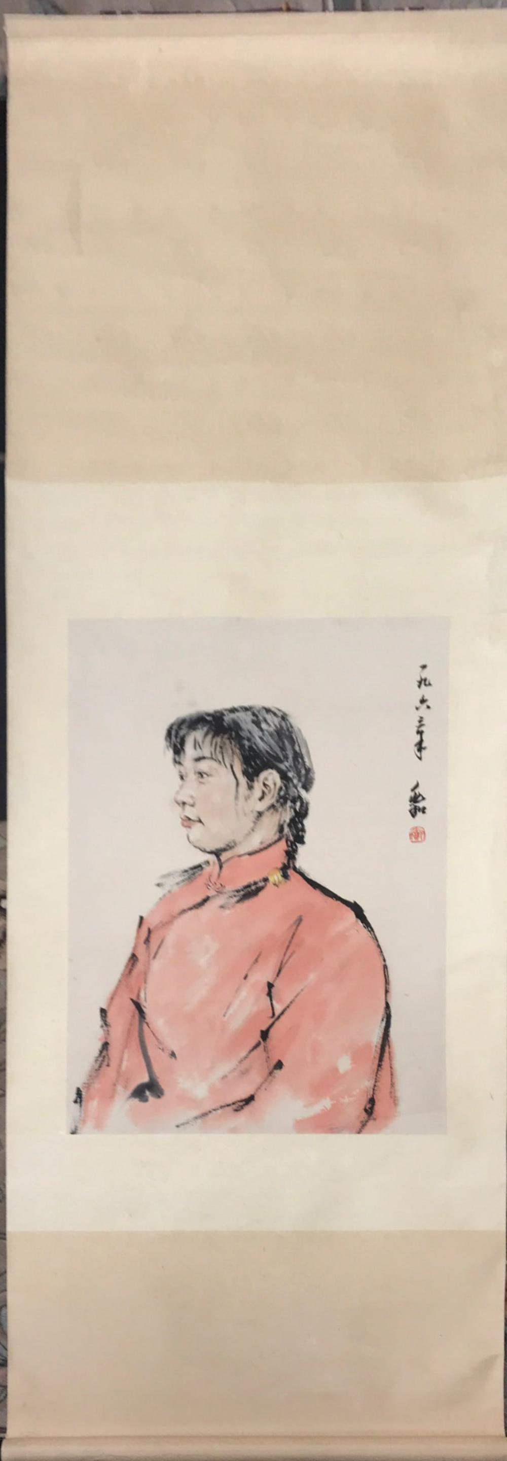 A Chinese silk mounted painted scroll of a girl in a red dress, W. 69cm L. 183cm.