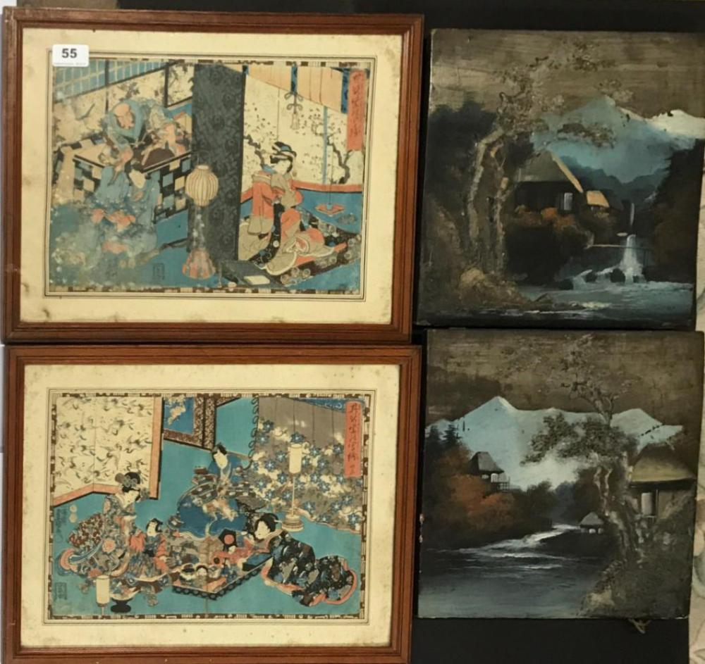 A pair of framed early Japanese woodblock prints, frame 44 x 33cm together with a pair of Japanese relief paintings on wooden panels, 30 x 3