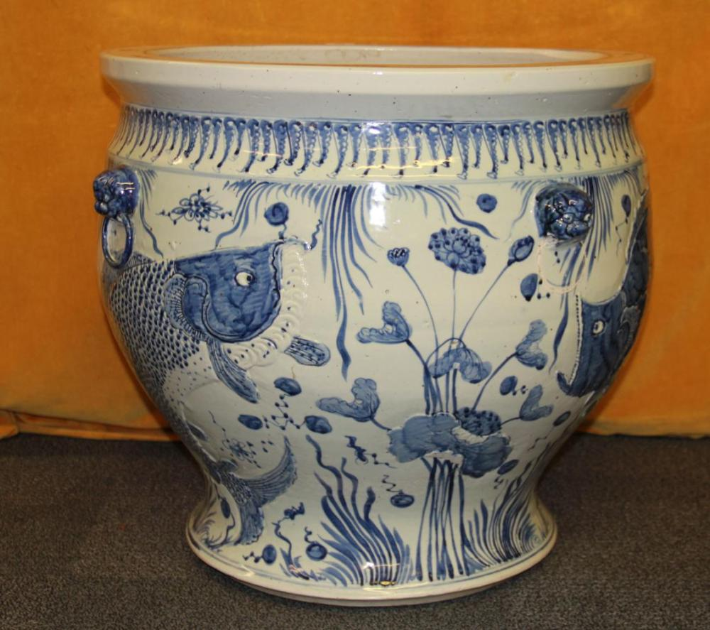 A very large Chinese hand painted porcelain fish bowl, Dia. 63cm H. 60cm.
