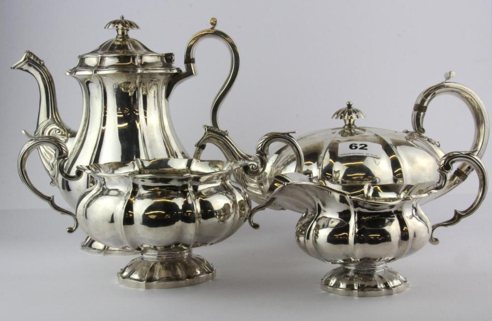 A William IV hallmarked Irish silver four piece tea set.