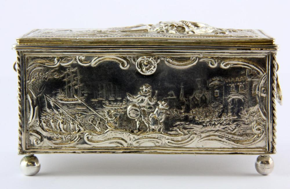 A 19th Century Dutch hallmarked silver casket with English import marks, 14 x 9 x 7.5cm.
