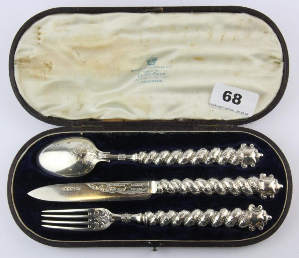 A superb Victorian hallmarked silver three piece christening set, knife L. 21cm.