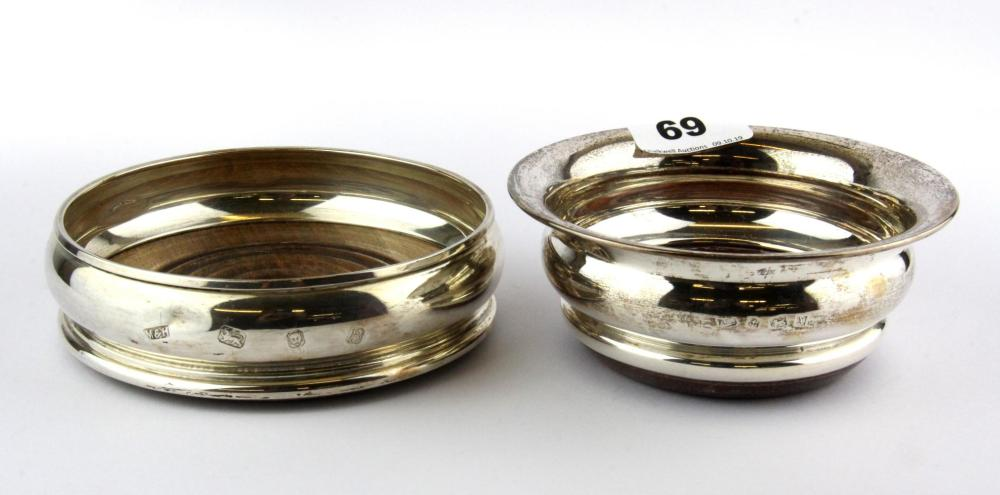 Two hallmarked silver decanter coasters, larger Dia. 13.5cm.
