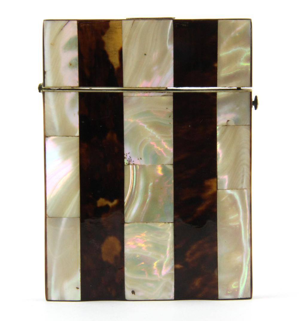 A 19th Century tortoise shell and mother of pearl decorated visiting card case, 10.5 x 7.8cm.