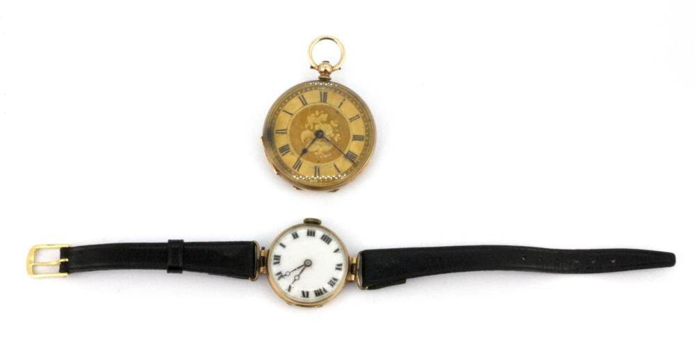 A lady's 9ct yellow gold wrist watch together with a  gold plated lady's pocket watch.