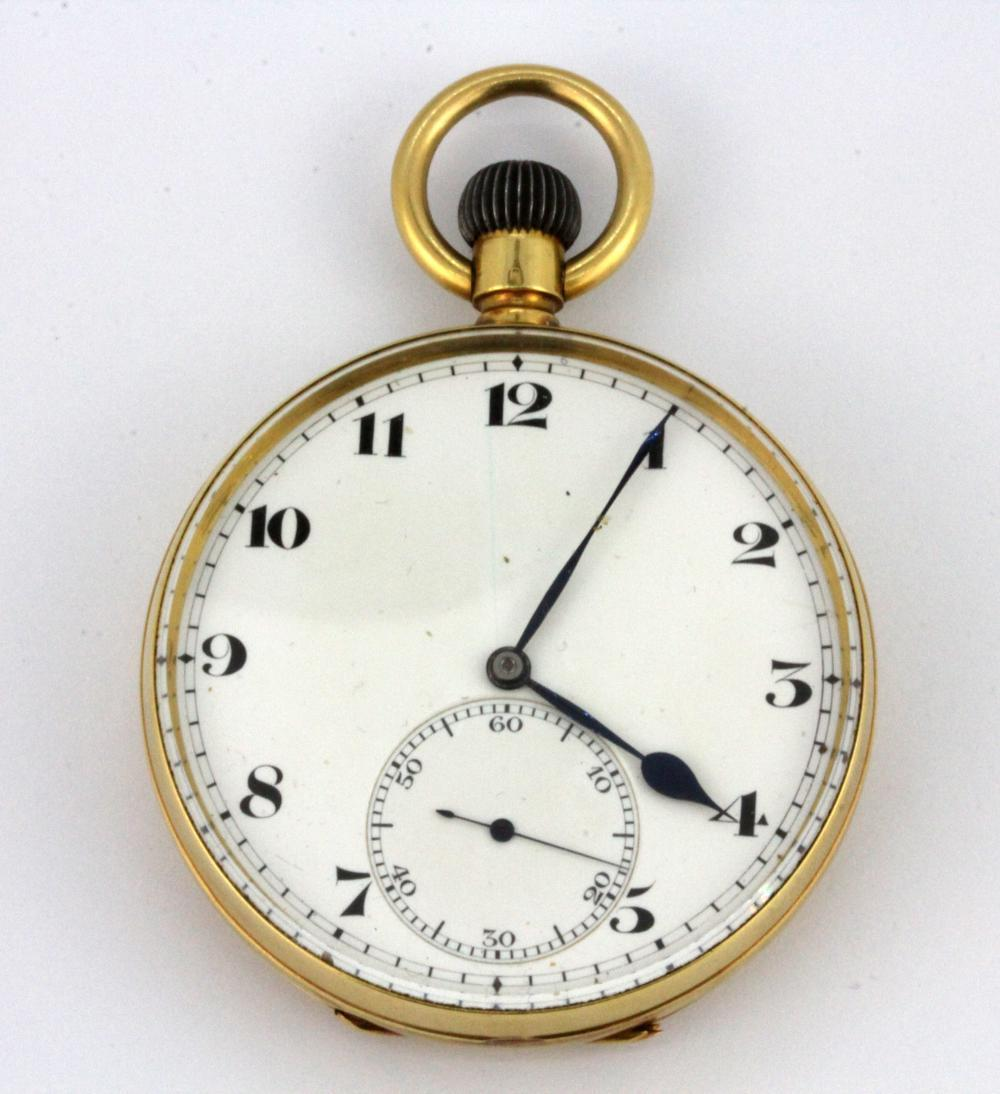 A French 18ct yellow gold open face pocket watch, with movement by Paul Ditisheim issued for the Grand Prix of Paris c. 1900.