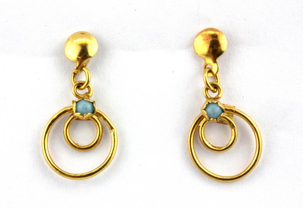 A pair of 22ct yellow gold turquoise set drop earrings, L. 2cm, (9ct butterflies).