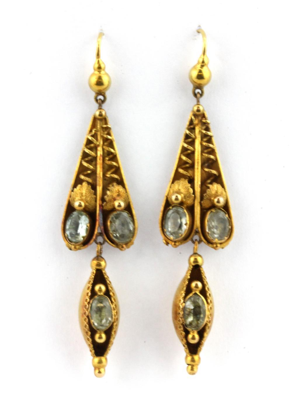 A pair of Victorian yellow metal (tested high carat gold) stone set earrings in an antique box., L. 6cm.
