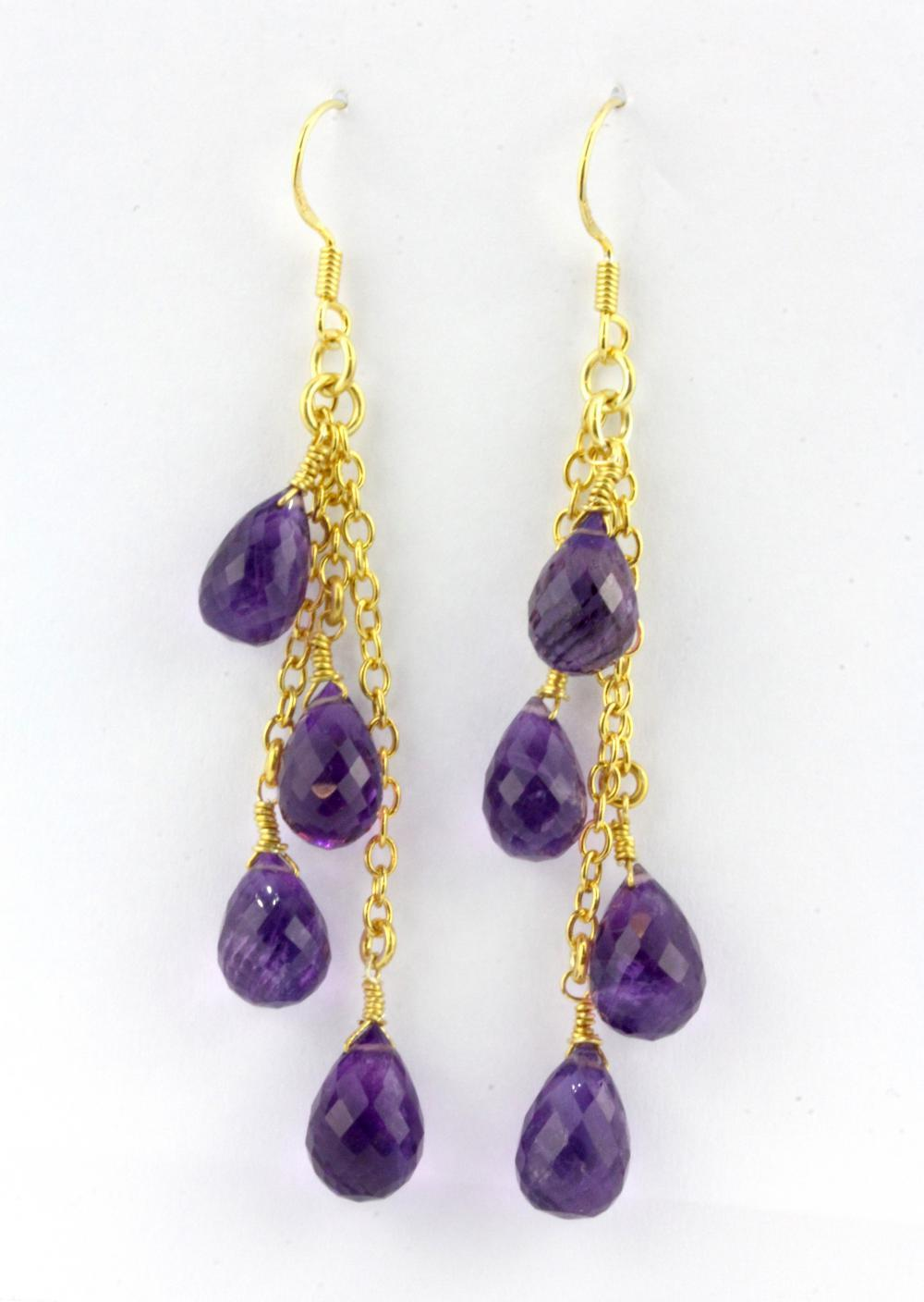 A pair of 925 silver drop earrings set with briolette cut amethysts, L. 6.5cm.