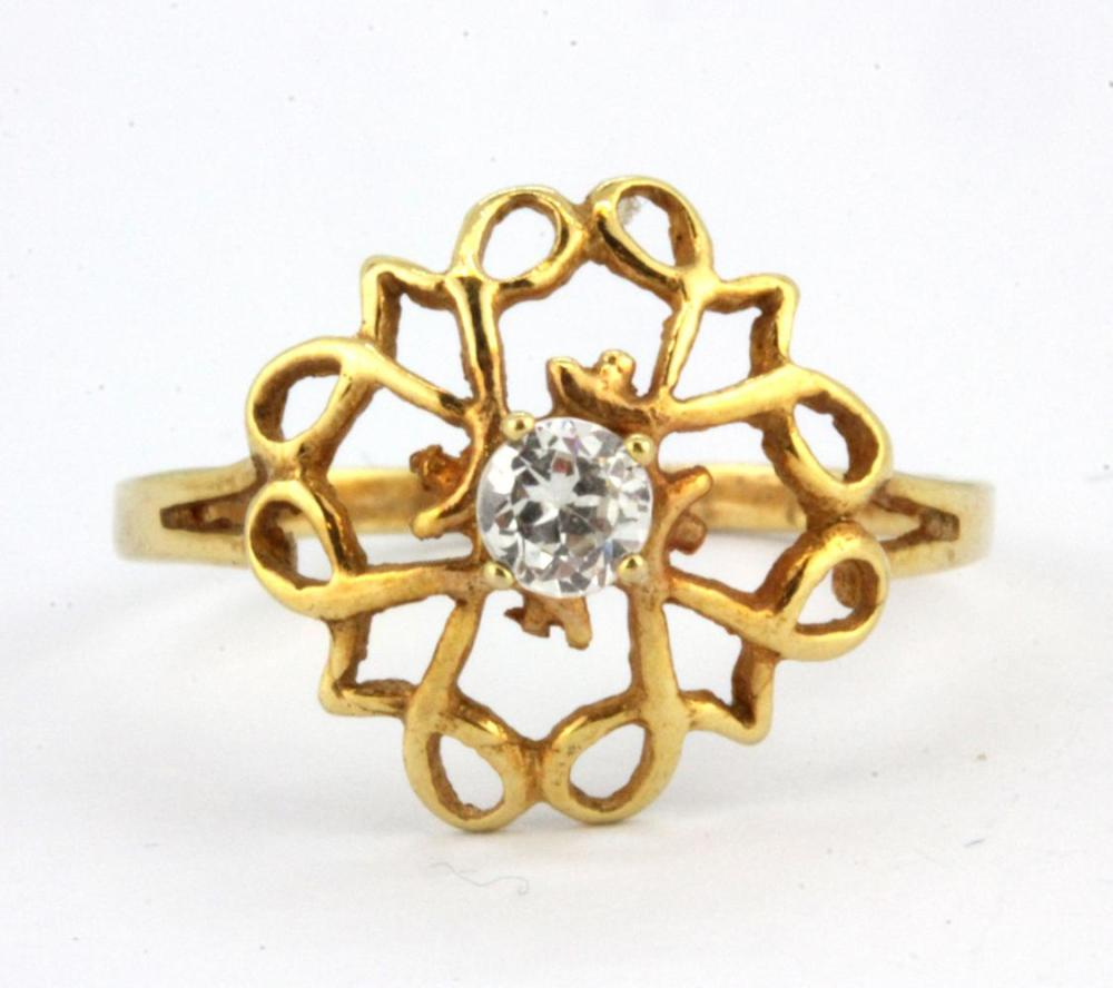 A 9ct yellow gold stone set ring, (P.5).