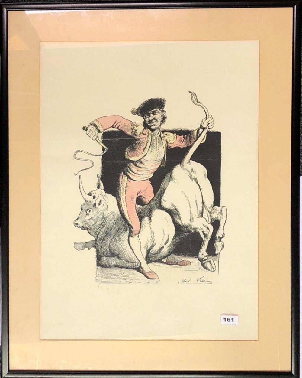A large pencil signed framed lithograph of a matador initialled H.C and numbered 6/25, framed size 66 x 85cm.