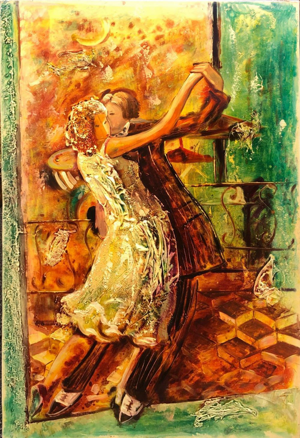 Two Contemporary oils on canvas of dancers, largest 61 x 91cm.