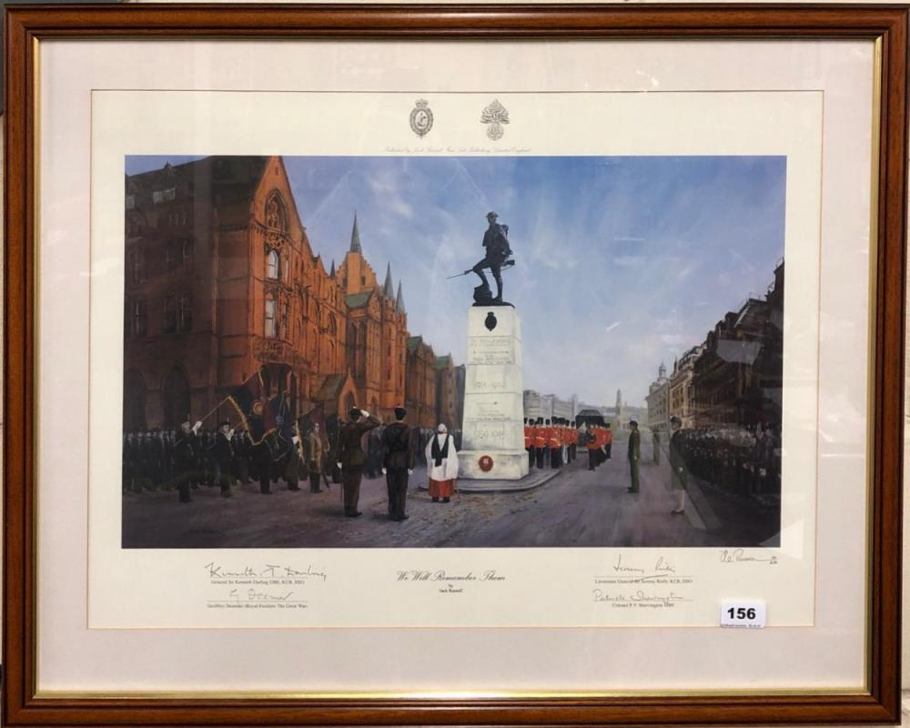 Jack Russell (British b. 1963) former cricketer. A rare framed limited edition 182/250 lithograph 'We Will Remember Them' also signed by Gen