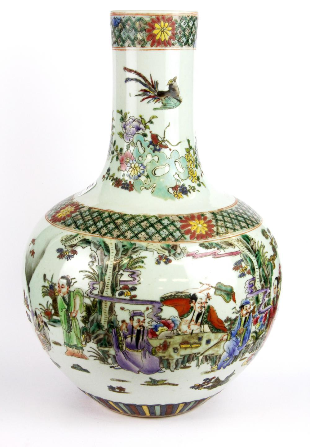 A Chinese hand painted porcelain vase, six character mark to base, H. 37cm.